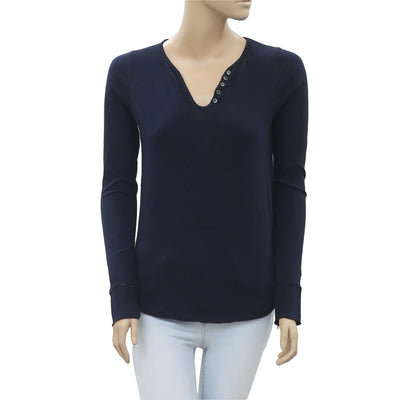 Zadig & Voltaire Tunisien Beads Navy Blouse T-Shirt Top XS