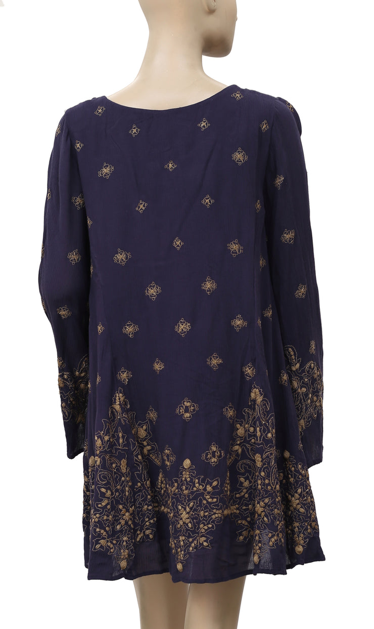 Free People Daylight Dreams Dress Embroidered Navy Mini S