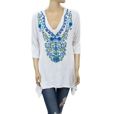 Caite Anthropologie Floral Embroidered Tunic Top M