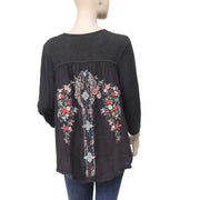 Caite  Embroidered Black Tunic Top  M