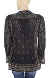 Amitie Embroidered Black Blouse Top M