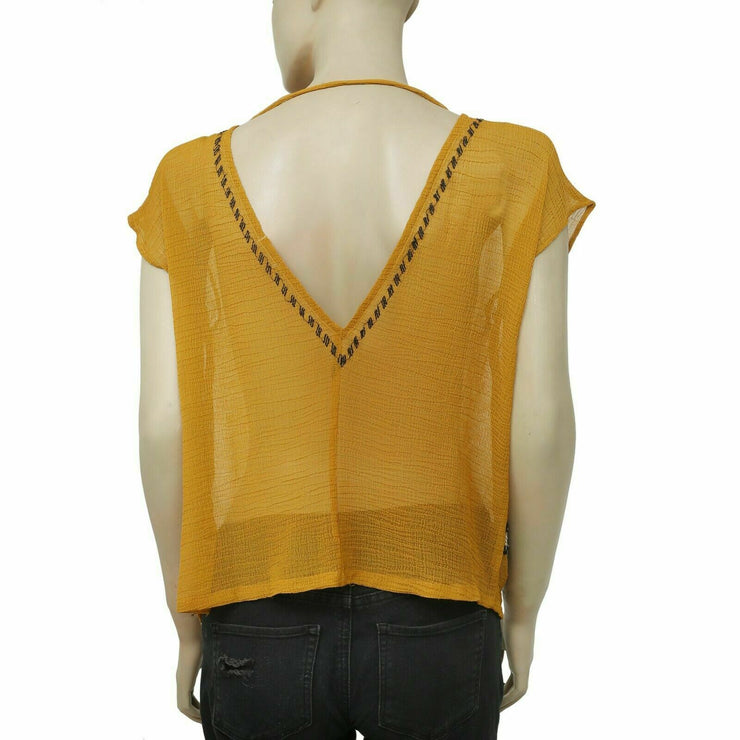 Ecote Urban Outfitters Embellished Mustard Blouse Top M New