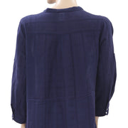 Bila Embroidered Cutout Pintuck Navy Tunic Top XL