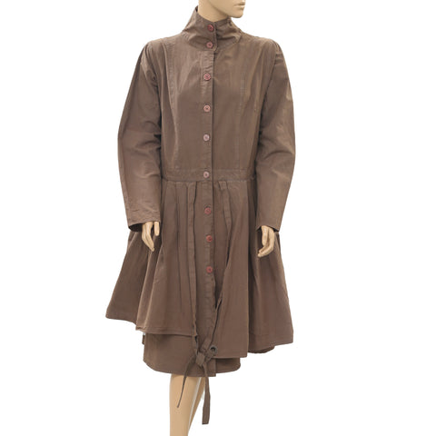 Ewa I Walla Peasant Lagenlook Vintage Buttondown Coat Jacket Dress M New