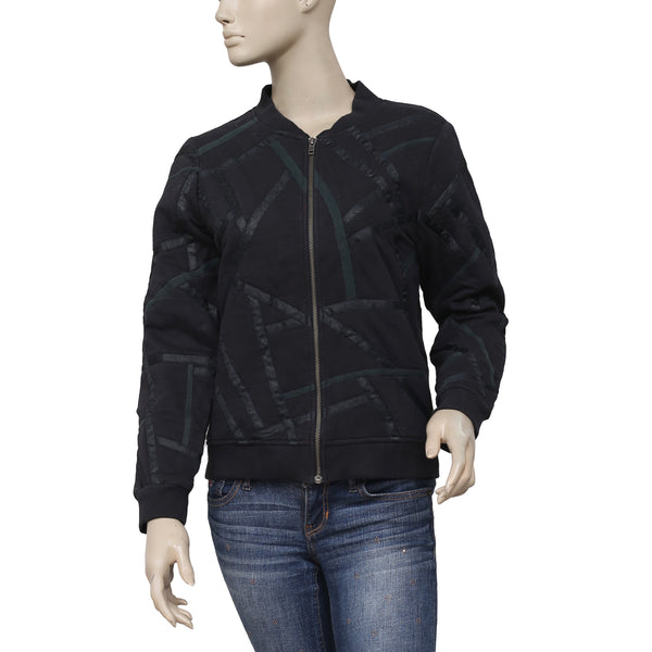 IRO Lace Zip Up Long Sleeve Black Jacket Top XS