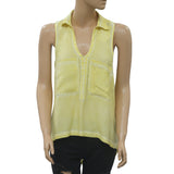 Jessica Simpson Tie Dye Printed Blouse Top High Low Holiday Yellow M