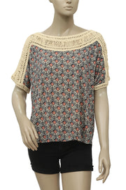 Free People Tribal Crochet Shoulder Blouse Top S