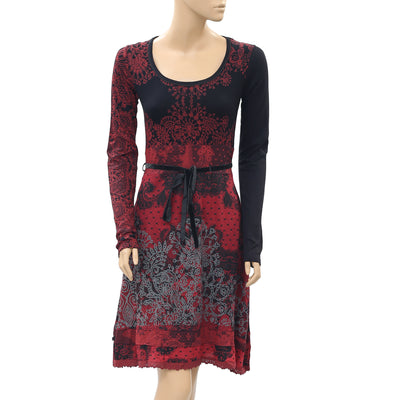 Desigual Printed Black Mini Dress Lace Fit & Flare Evening XS New