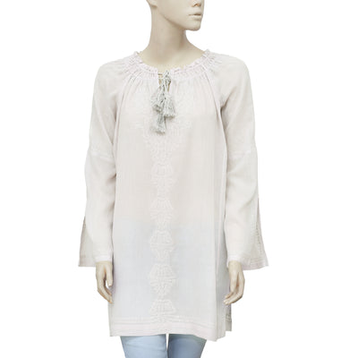 Joie Embroidered Long Sleeve Draw String Tunic Dress  M