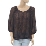 Free People Printed Sheer Blouse Top Lace Tie & Dye Eyelet Boho M New