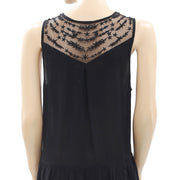 Kimchi Blue Urban Outfitters Mesh Embroidered Black Mini Dress M