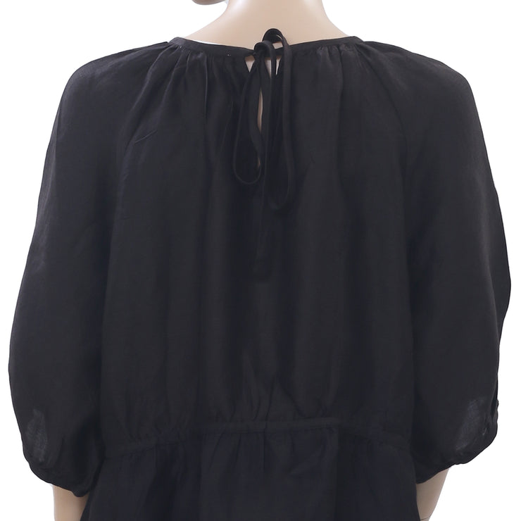 Lovechild 1979 Benito Raglan Sleeve Tie Knot Black Blouse Top L New