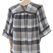 Anthropologie Maeve Plaid Check Printed Mini Dress XS