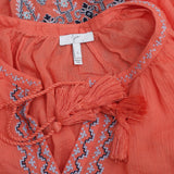 Joie Nelida Embroidered Tunic Top Front Tie Long Sleeve Cotton Orange S