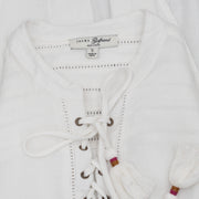 JACHS Girlfriend Cutout Lace up Ivory Top S