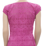 Ulla Johnson Eyelet Embroidered Lace Cutout Purple Midi Dress S