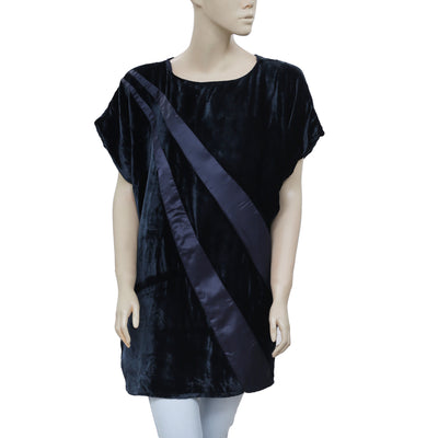 EP by Easton Pearson Velvet Oversized Navy Tunic Top XL