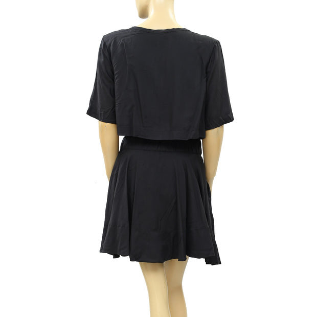 IRO Felly Black Tiered Solid Mini Dress