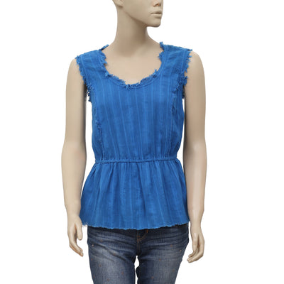 Free People Sleeveless Smocked Blue Cotton Blouse Top S