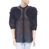Uterque Ruffle Floral Shirt Blouse Top Black Buttondown Boho Holiday S NW