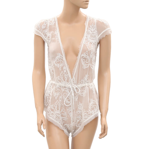 New Out From Under Mesh Embroidered Front Tie Playsuit White Romper XS