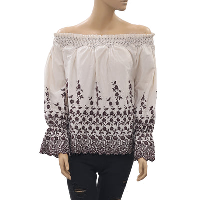 Ulla Johnson Marya Embroidered Off Shoulder Blouse Top S