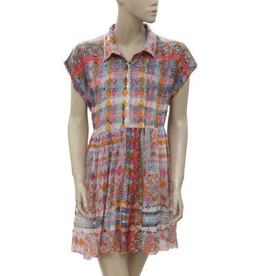 New Free People FP One Printed Collared Buttondown Mini Dress Medium M