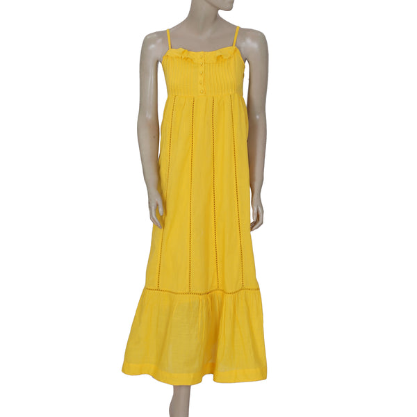 Anrthropologie Maeve Sleeveless Lace Casual Yellow Maxi Dress XS 0