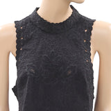 Ulla Johnson Embroidered Black Blouse Crop Top Floral Buttondown XS