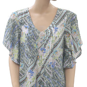 Maeve Anthropologie Fluttered Maya Printed Blouse Top Holiday Boho S