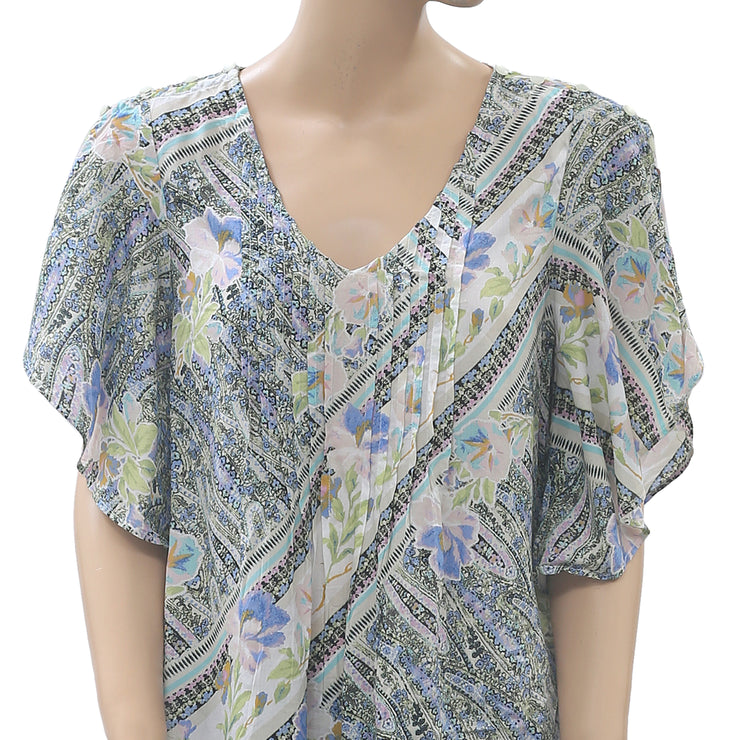 Maeve Anthropologie Fluttered Maya Printed Blouse Top S
