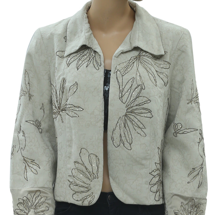 Anthropologie Floral Embroidered Jacket Top Embellished Front Open M