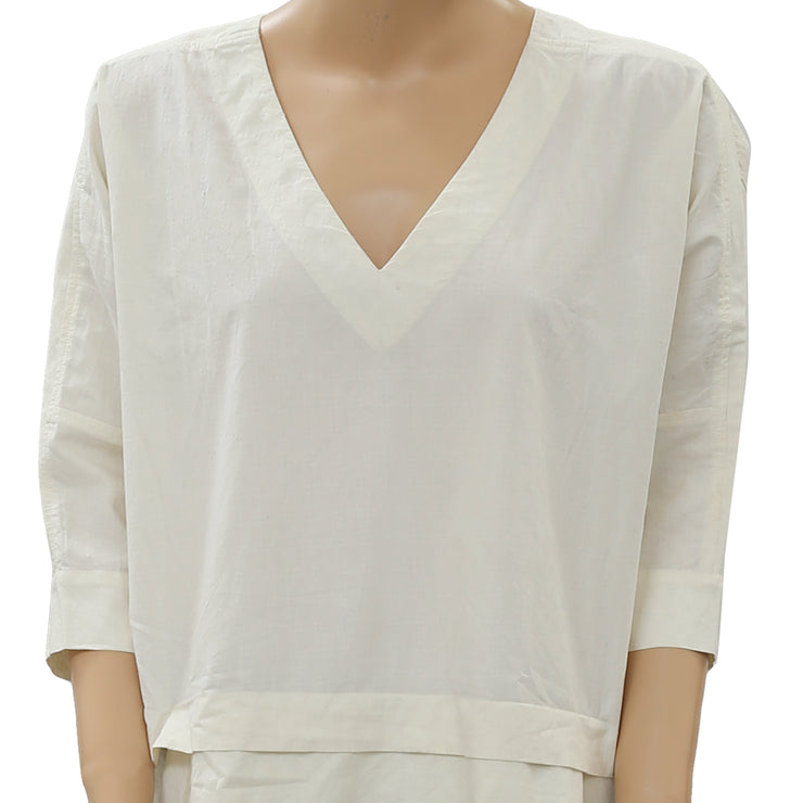 Free People Oversized Cotton High Low  Ivory Top L