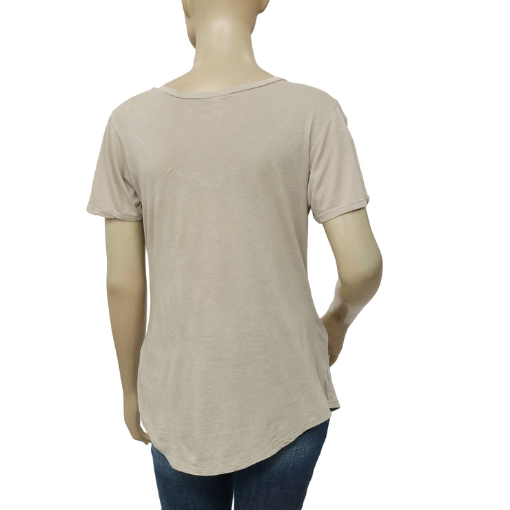 Z Supply The Pocket Taup Blouse Top  Top Small S