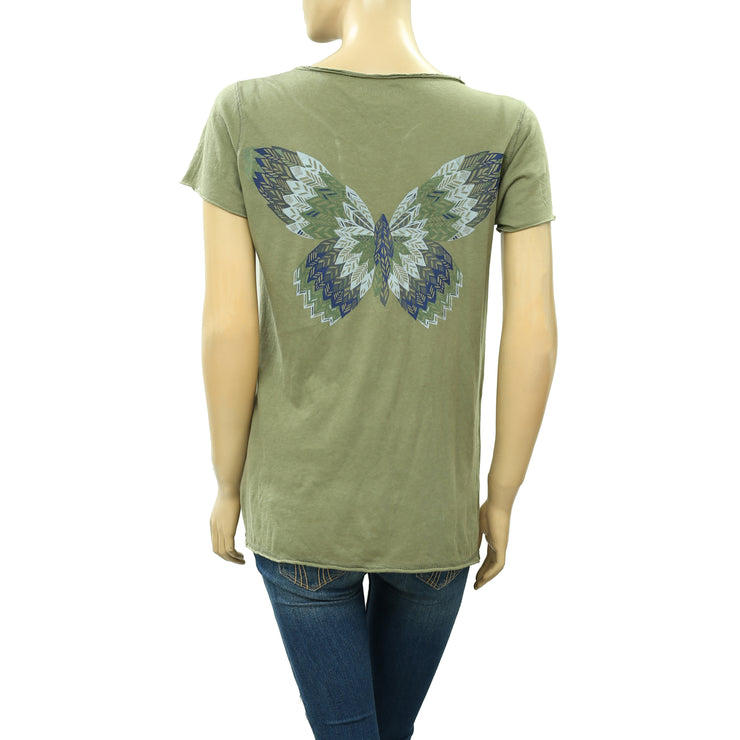 Zadig & Voltaire Tunisien MC Betterfly Glitter Printed T-Shirt Top S