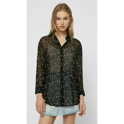ALL SAINTS Mariana Hearts Embroidered Shirt Top