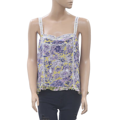 Anthropologie Floral Printed Tank Top Embroidered Ruffle Beach Boho M