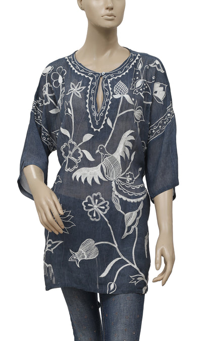 Roja Embroidered Bird Floral Sheer Gray Tunic Top L