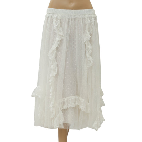 Ulla Johnson Lenora White Midi Skirt Embroidered Lace High Waisted S