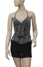 Ecote Embroidered halter Tie Knot Crop Top S