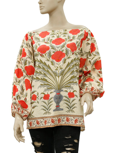 Rhode Resort Delilah Red Flower Off Shoulder Top L