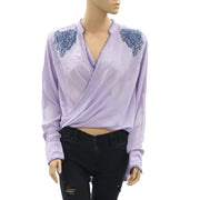 Jachs Girlfriend Purple Embroidered Wrap Blouse Top S