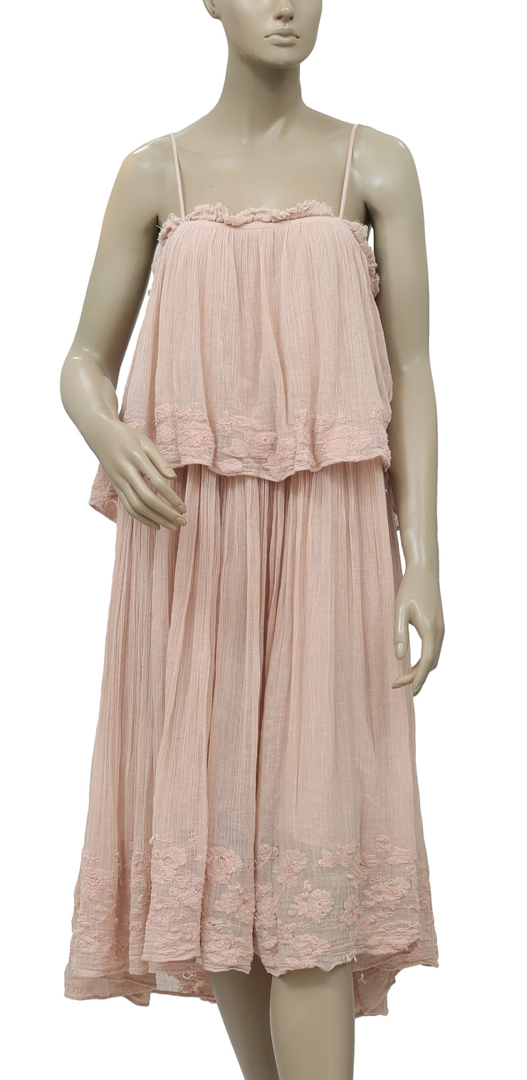 Mes Demoiselles Floral Embroidered Peach Midi Dress S