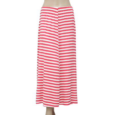 April Cornell Striped Printed Pink & Ivory Casual Midi Skirt Small S