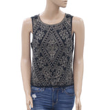 Ecote Urban Outfitters Metal Embellished Blouse Tank Top Zipper Black S