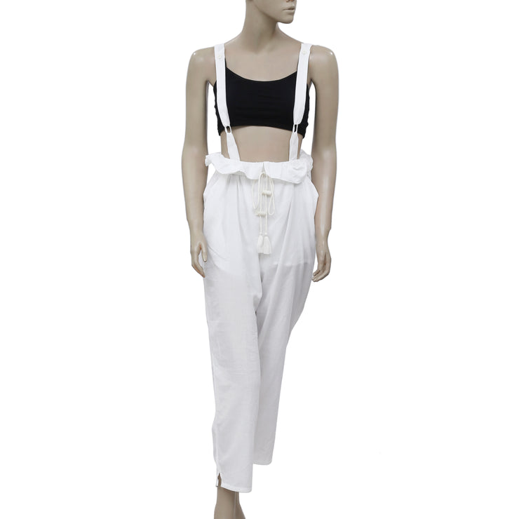 Free People Ruffle Tie Front White Maxi Jumpsuit S