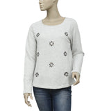 Anthropologie Lilka Embellishment Gray Pullover Sweatshirt Top S