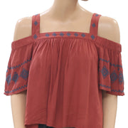 Staring At Stars Embroidered Brick Blouse Top M