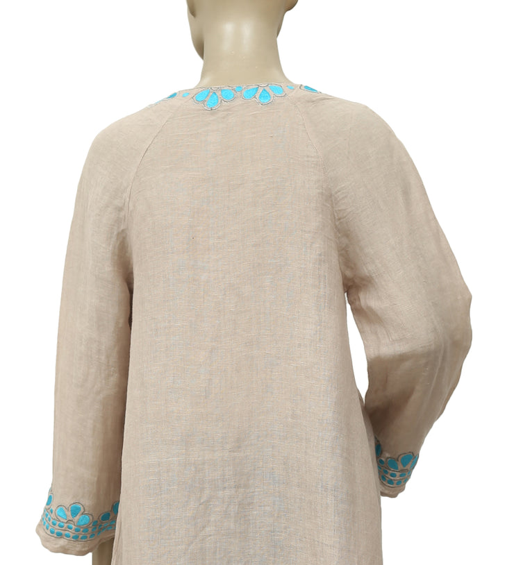 Free People Embroidered Front Open Taupe Coverup Dress M