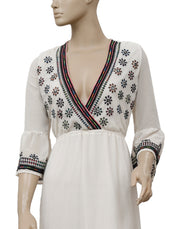 Free People Embroidered Embellished Ivory Midi Dress S